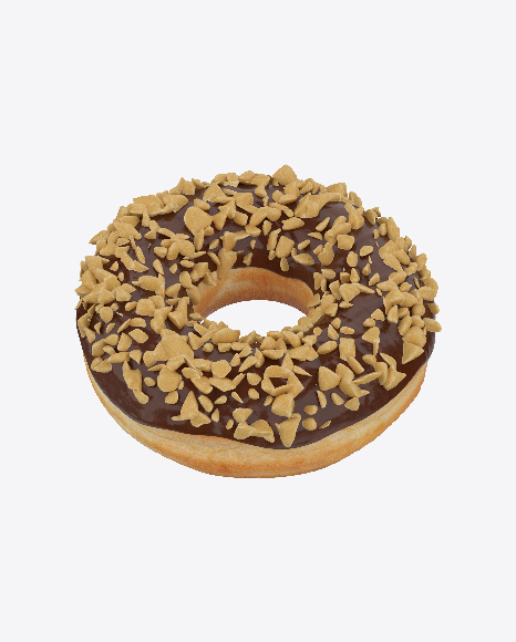 Chocolate Glazed Donut with Nut Crumbs