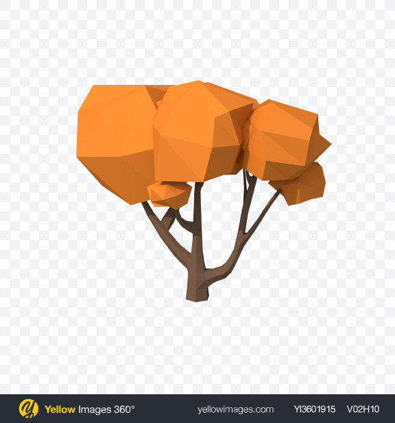 Download Low Poly Autumn Tree Transparent PNG on Yellow Images 360°