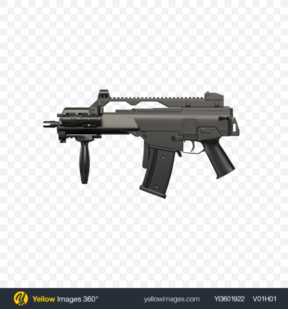 Download Full-Auto Assault Rifle with Folded Stock Transparent PNG on Yellow Images 360°