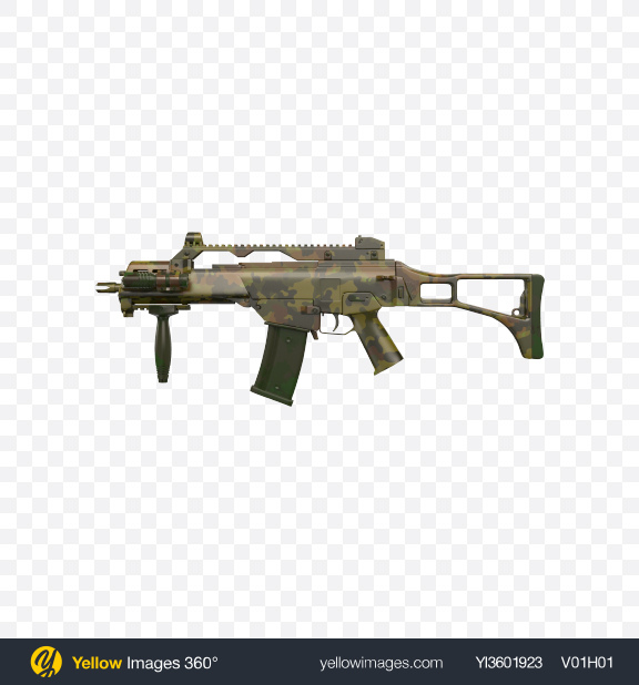 Download Camouflage Full-Auto Assault Rifle Transparent PNG on Yellow Images 360°