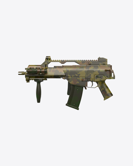 Camouflage Full-Auto Assault Rifle with Folded Stock