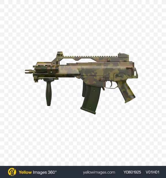 Download Camouflage Full-Auto Assault Rifle with Folded Stock Transparent PNG on Yellow Images 360°