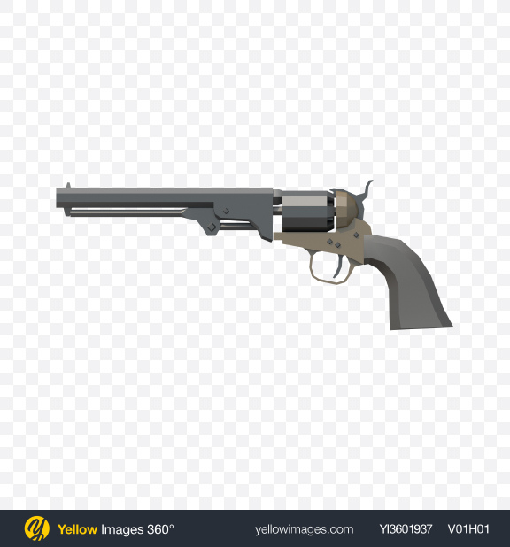 Download Low Poly Revolver Transparent PNG on Yellow Images 360°