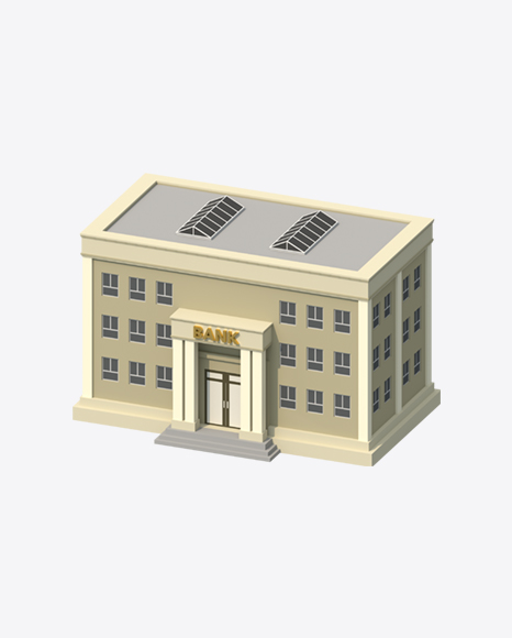 Low Poly Bank Building