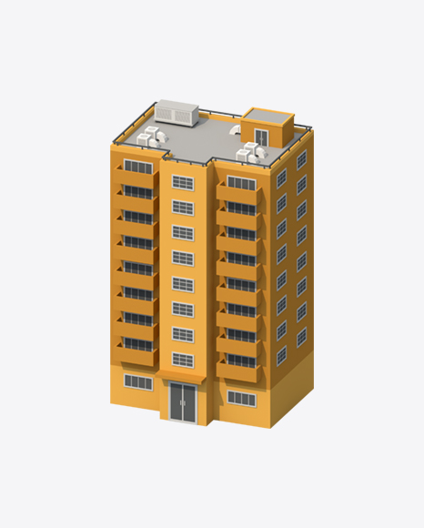 Orange Low Poly Building