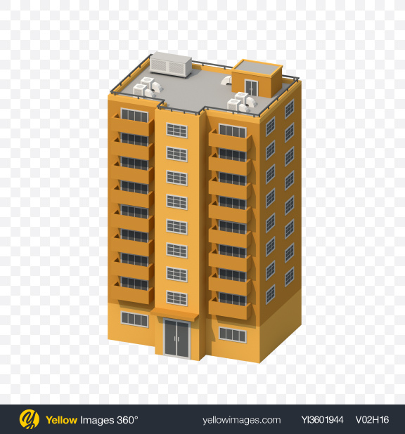 Download Orange Low Poly Building Transparent PNG on Yellow Images 360°
