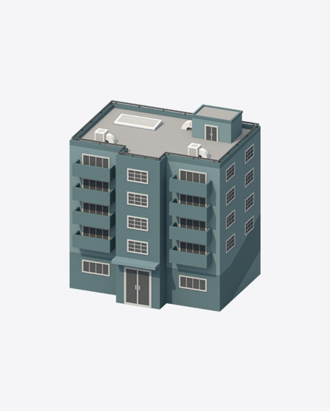 Grey Low Poly Building