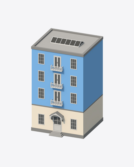 Blue Low Poly Building