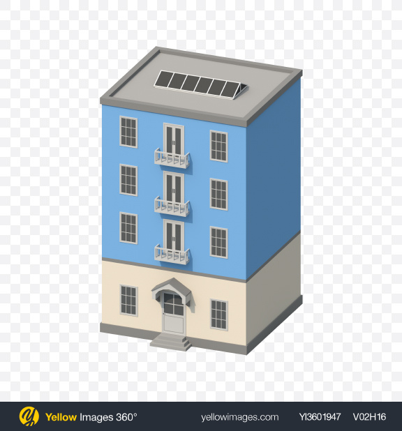 Download Blue Low Poly Building Transparent PNG on Yellow Images 360°