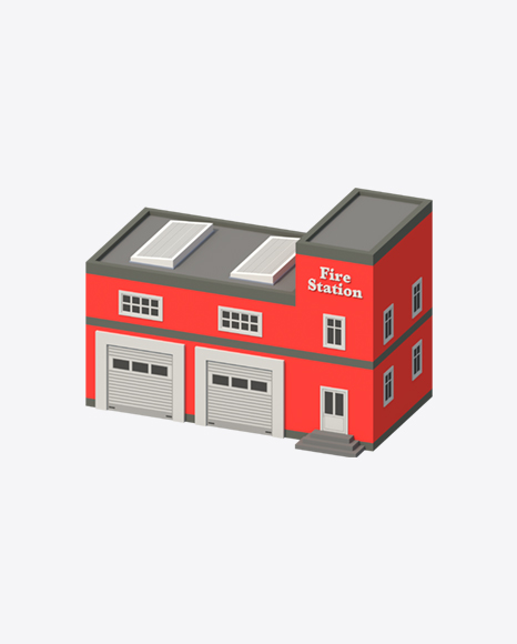 Low Poly Fire Station
