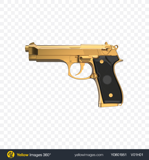 Download Gold Gun with Black Handle Transparent PNG on Yellow Images 360°