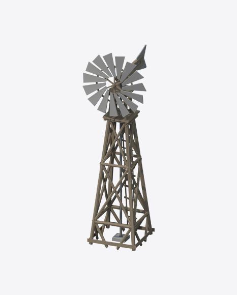 Low Poly Western Windmill