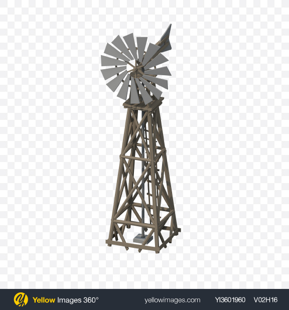 Download Low Poly Western Windmill Transparent PNG on Yellow Images 360°