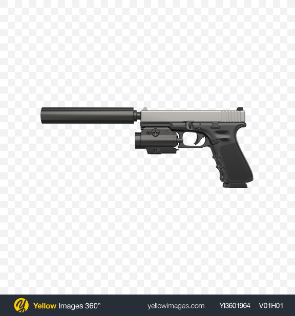 Download Gun with Silencer and Laser Sight Transparent PNG on Yellow Images 360°