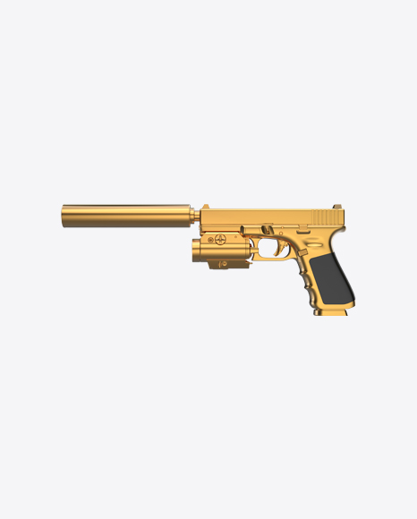 Gold Gun with Silencer and Laser Sight