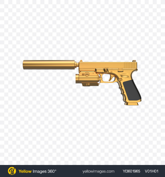 Download Gold Gun with Silencer and Laser Sight Transparent PNG on PNG Images