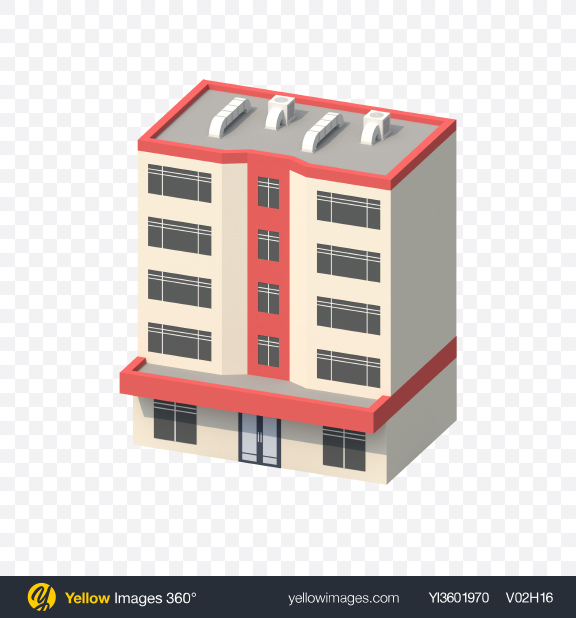 Download Low Poly Building Transparent PNG on Yellow Images 360°