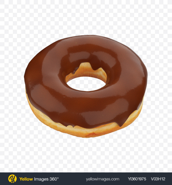 Download Milk Chocolate Glazed Donut Transparent PNG on Yellow Images 360°