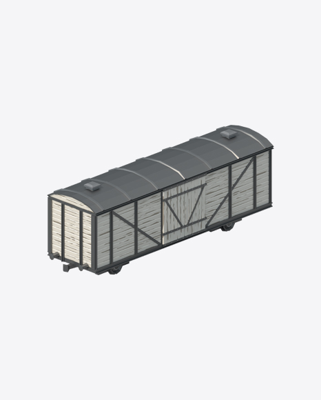 Low Poly Western Boxcar