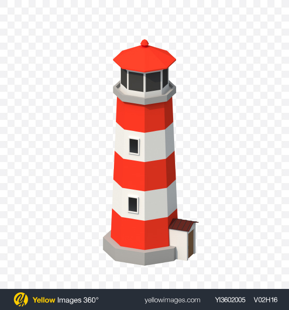 Download Low Poly Lighthouse Transparent PNG on Yellow Images 360°