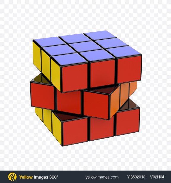 Download Twisted Puzzle Cube Transparent PNG on Yellow Images 360°