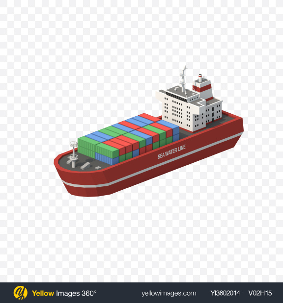 Download Low Poly Cargo Ship Transparent PNG on Yellow Images 360°