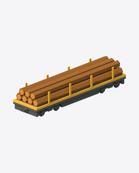 Low Poly Train Flat Car with Logs