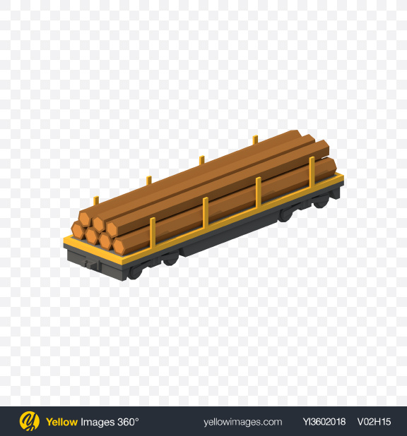Download Low Poly Train Flat Car with Logs Transparent PNG on PNG Images