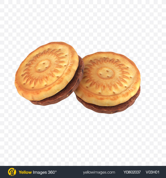 Download Two Sandwich Cookies Transparent PNG on Yellow Images 360°