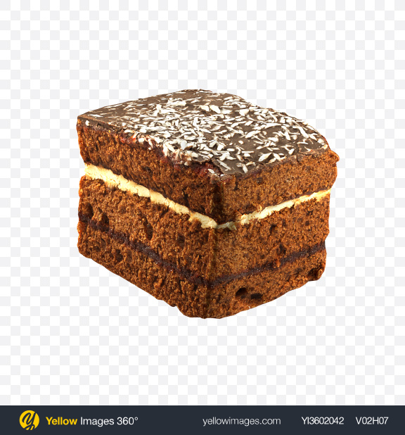 Download Chocolate Cake with Coconut Flakes Transparent PNG on Yellow Images 360°