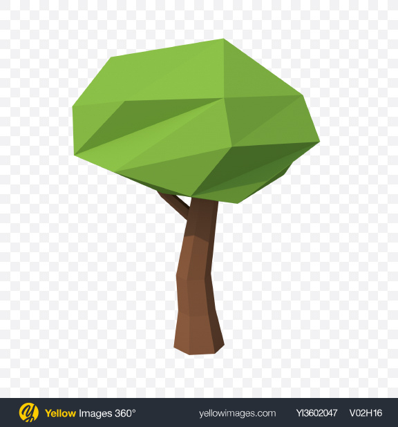 Download Low Poly Tree Transparent PNG on Yellow Images 360°