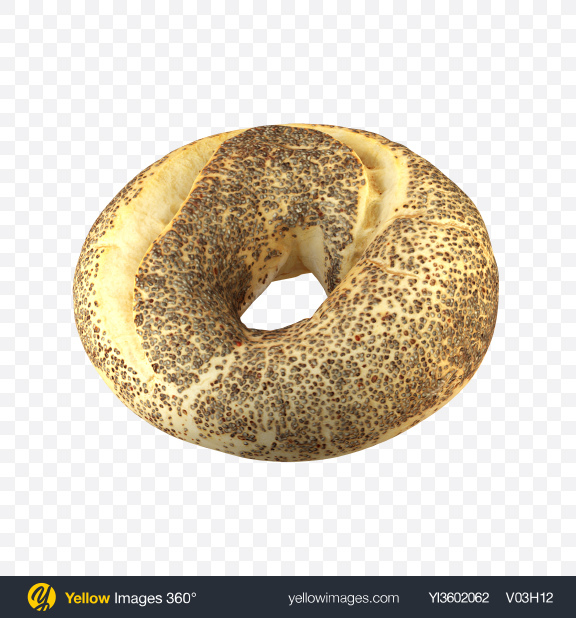 Download Poppy Seed Bagel Transparent PNG on Yellow Images 360°