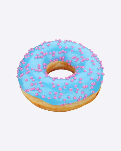 Blue Glazed Donut with Pink Sprinkles