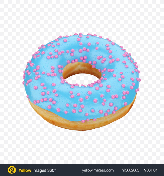 Download Blue Glazed Donut with Pink Sprinkles Transparent PNG on Yellow Images 360°