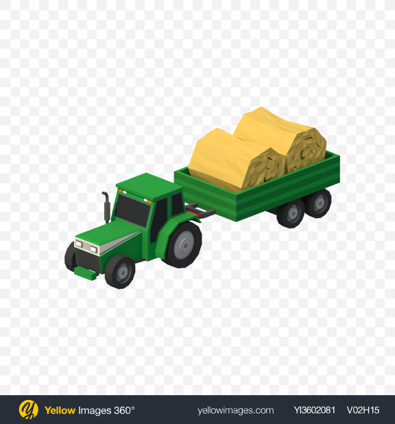 Download Low Poly Tractor with Trailer Transparent PNG on Yellow Images 360°