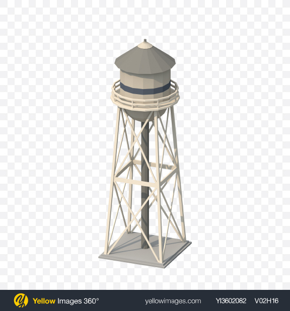 Download Low Poly Water Tower Transparent PNG on Yellow Images 360°
