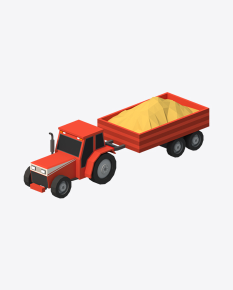 Low Poly Tractor with Trailer