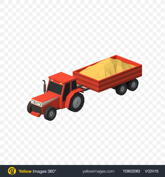 Download Low Poly Tractor with Trailer Transparent PNG on YELLOW Images