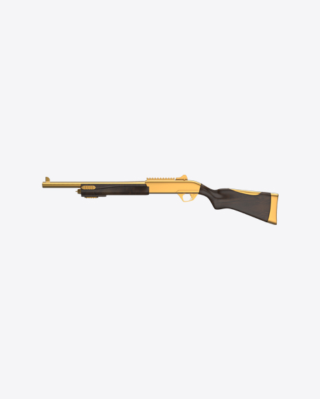 Gold Shotgun with Wooden Parts