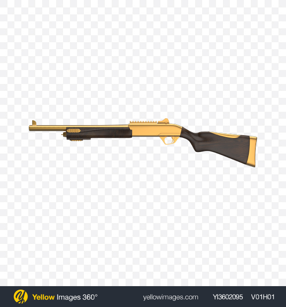 Download Gold Shotgun with Wooden Parts Transparent PNG on Yellow Images 360°