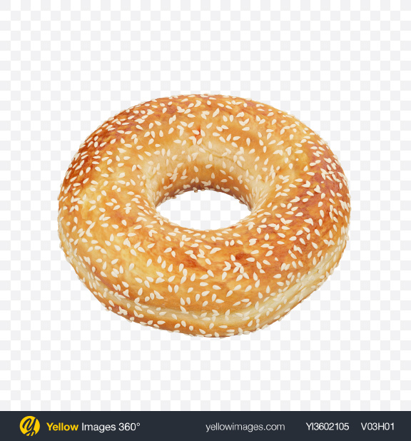 Download Donut with Sesame Seeds Transparent PNG on Yellow Images 360°