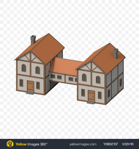 Download Two Connected Low Poly Houses Transparent PNG on Yellow Images 360°
