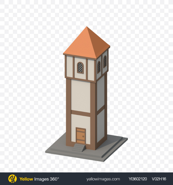 Download Low Poly Tower Transparent PNG on Yellow Images 360°
