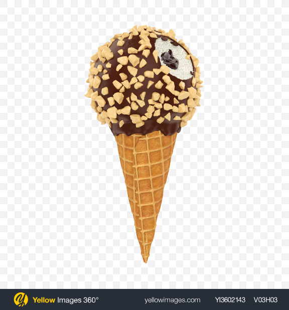 Download Chocolate Glazed Ice Cream Cone Transparent PNG on Yellow Images 360°