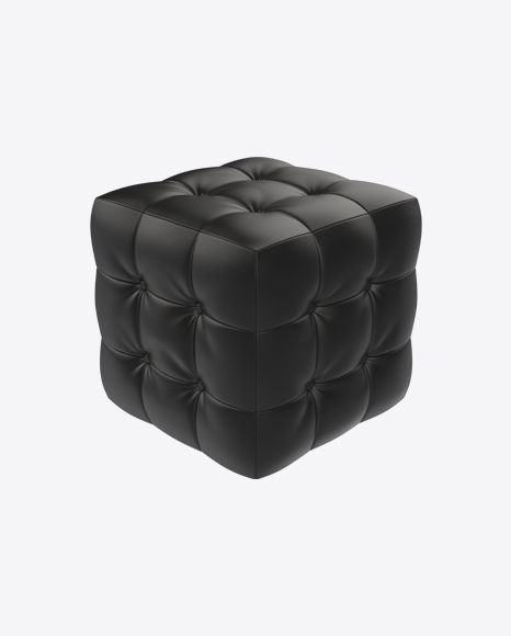Black Leather Pouf