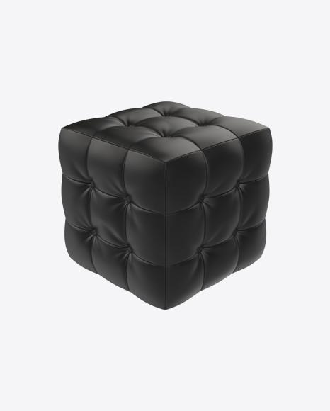 Black Leather Pouf