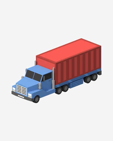 Low Poly Container Truck