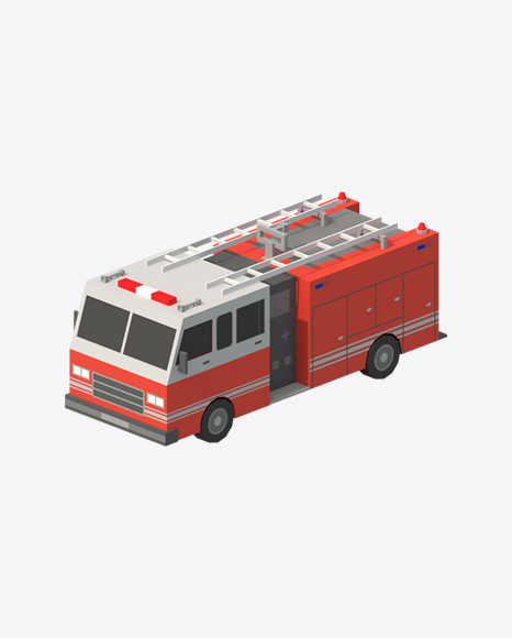 Low Poly Fire Engine