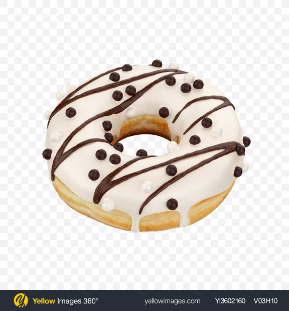 Download White Chocolate Glazed Donut with Sprinkles Transparent PNG on Yellow Images 360°
