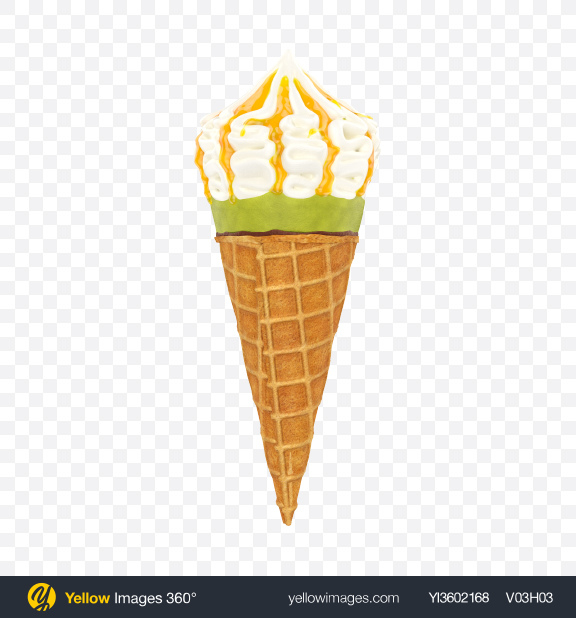 Download Ice Cream Cone with Topping Transparent PNG on Yellow Images 360°